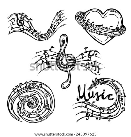 Music abstract decorative sketch icons set with treble clef and notes isolated vector illustration - stock vector