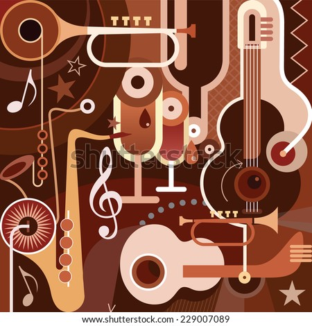 Music. Abstract vector illustration with musical instruments. - stock vector