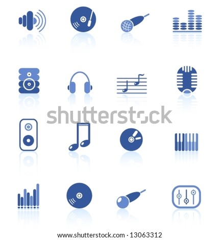 Music and audio vector icons - stock vector
