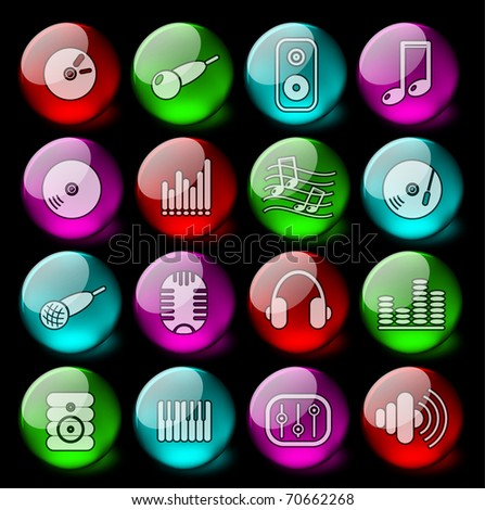 Music and audio vector icons - EPS10 - stock vector