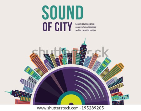 Music and city landscape infographic and background - stock vector