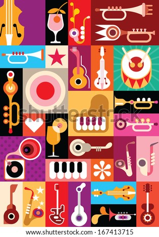 Music and Cocktail party - vector illustration. Patchwork seamless wallpaper.  - stock vector