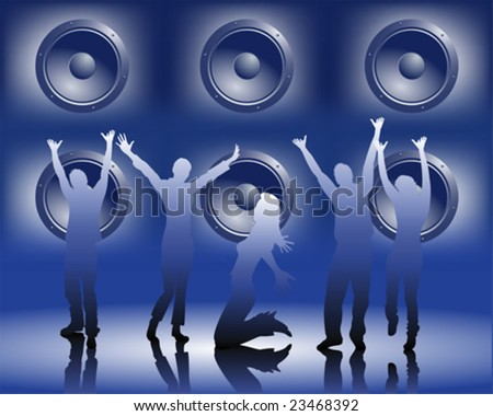 music and dancing - stock vector