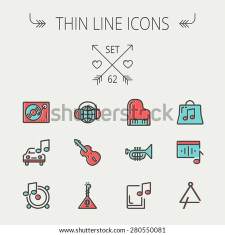 Music and entertainment thin line icon set for web and mobile. Set include-Phonograph turntable, trumpet, piano, guitar, headphone, tambourine, car music   icons. Modern minimalistic flat design - stock vector