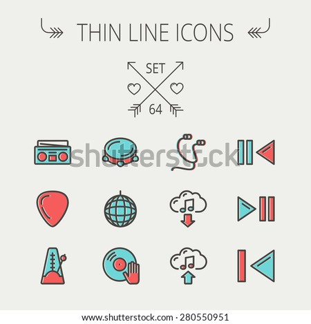 Music and entertainment thin line icon set for web and mobile. Set includes -metronome, guitar pick, upload and download, earphone, disco ball, cassette player, music button icons. Modern minimalistic - stock vector