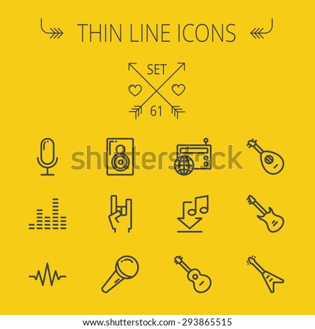 Music and entertainment thin line icon set for web and mobile. Set includes- speaker rock hand, wireless mic, sound wave beat, equalizer, radio, download music, guitars icons. Modern minimalistic flat - stock vector