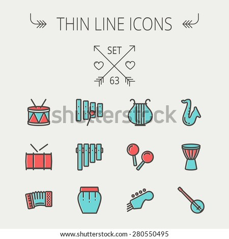 Music and entertainment thin line icon set for web and mobile. Set includes - xylophone, tuner, saxophone, banjo, maracas, organ, lyre icons. Modern minimalistic flat design. Vector icon with dark - stock vector