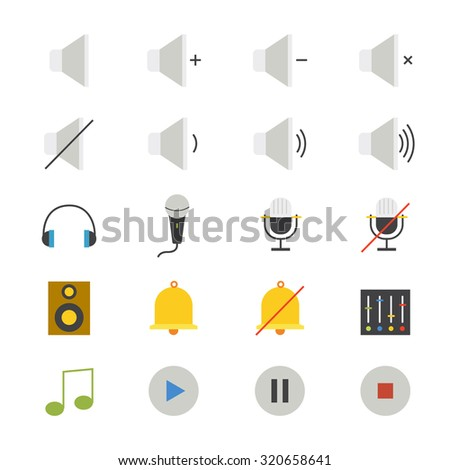 Music and Media Flat Icons color - stock vector