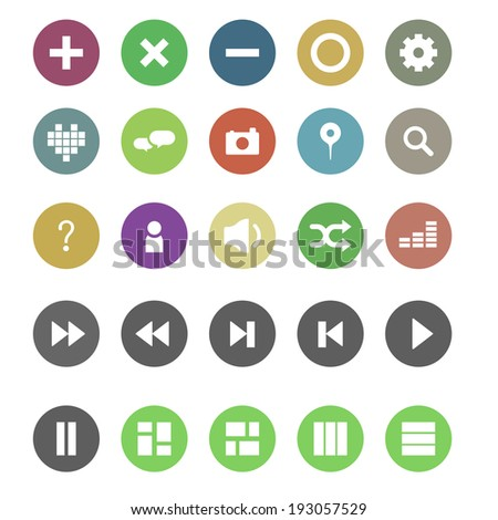 Music and social colorful icon - stock vector