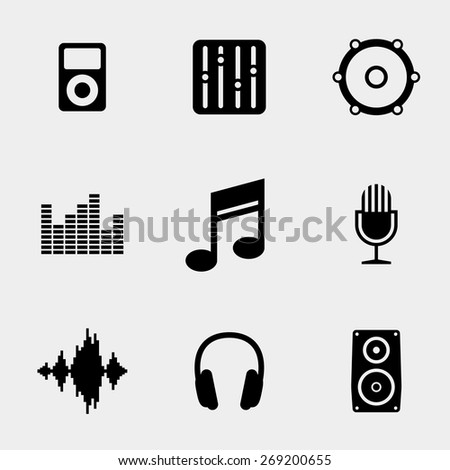 Music and sound icons set. Audio equalizer, note musical and microphone. Vector illustration - stock vector