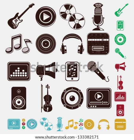 music and sound set - stock vector