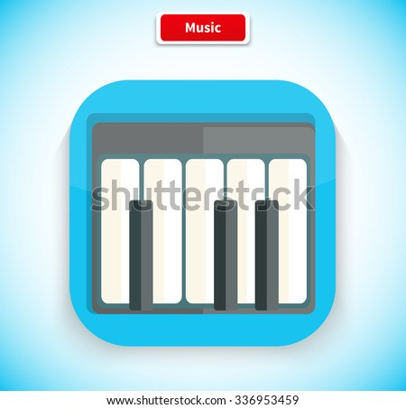 Music app icon flat style design. Music logo, movie icon, sound musical button, piano web application, audio instrument, play melody, multimedia internet illustration - stock vector