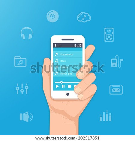 Music app icons on your smartphone. Play music in hand illustration - stock vector