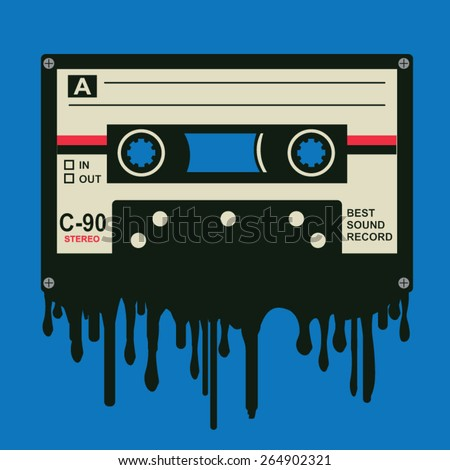 Music audio tape illustration, typography, t-shirt graphics, vectors - stock vector