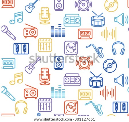 Music Background Outline Colorful Icon Set. Vector illustration