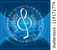 music background with decorative treble clef, vector illustration - stock vector