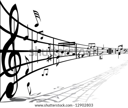 Music background with different notes on the white - stock vector
