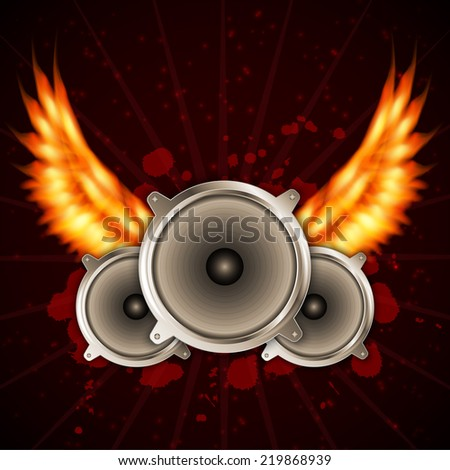 Music background with fire wings. EPS10 vector
