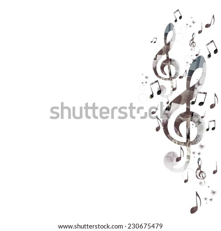 Music background with g-clef - stock vector
