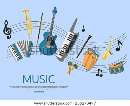 Music background with music instruments. Flat style design. Vector illustration. - stock vector