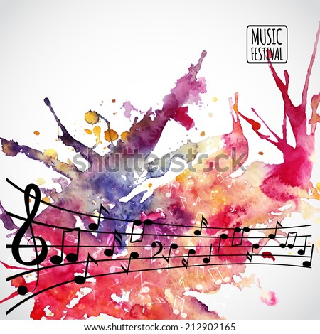 Music background with music notes and clef - stock vector