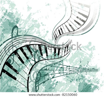 Music background with notes - stock vector