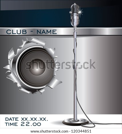 Music background with old microphone - stock vector