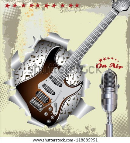 Music background with old microphone and guitar - stock vector