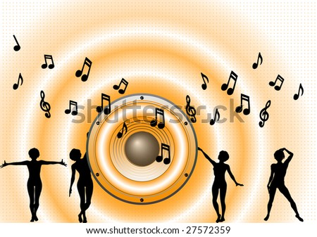 Music Background - with orage loudspeaker and waves - stock vector