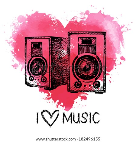 Music background with splash watercolor heart and sketch speakers. Hand drawn illustration  - stock vector
