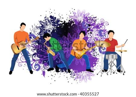 music band - stock vector