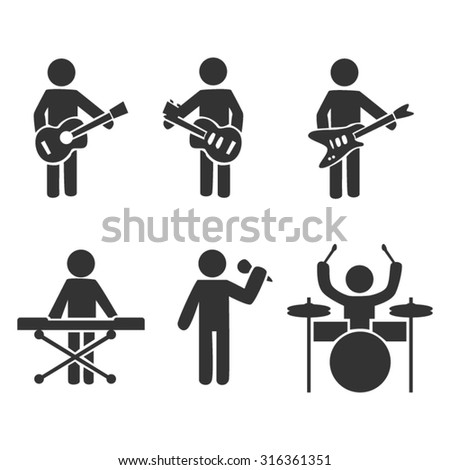 Music Band Icons Set - stock vector
