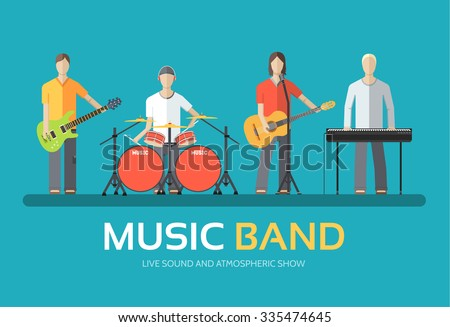 Music band in flat design background concept. Melodic musical concert quartet of musicians. Icons for your product or illustration, web and mobile applications - stock vector