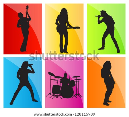 Music band set vector background - stock vector