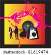 music band with singer, guitarist and drums on funky bright grunge background - stock vector