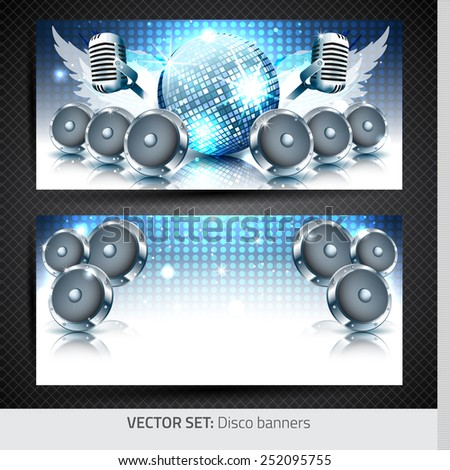 Music banners with disco ball, speakers and microphone - Vector with place for your text - stock vector