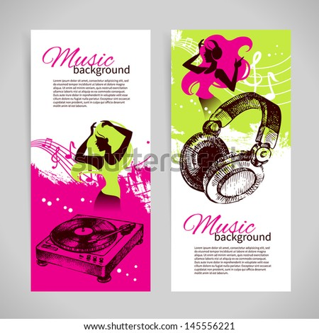 Music banners with hand drawn illustration and dance girl silhouette. Splash blob retro design - stock vector