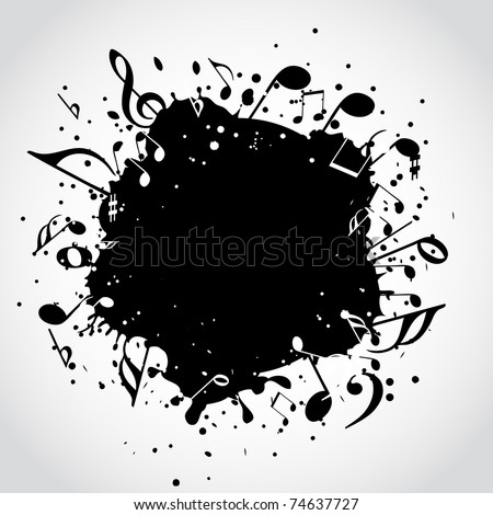Music  black blot - stock vector