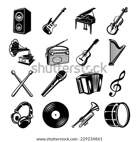 Music black Icons set - stock vector