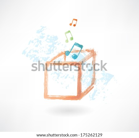 music box grunge icon - stock vector