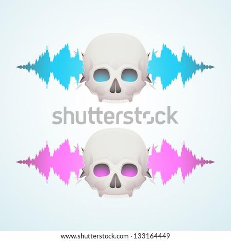 Music breaks the skull - stock vector