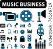 music business icons, signs, vector illustrations - stock vector
