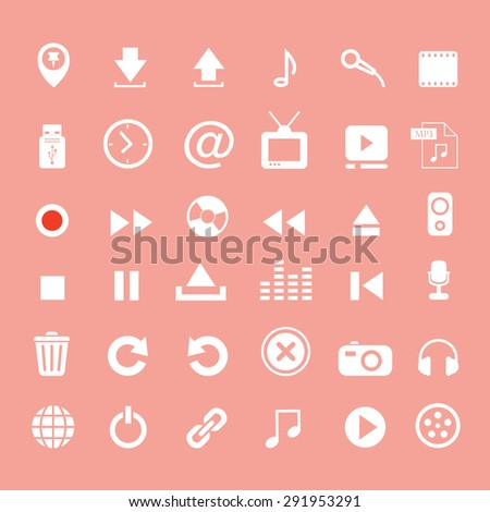 music button  icon set on pink background    - stock vector