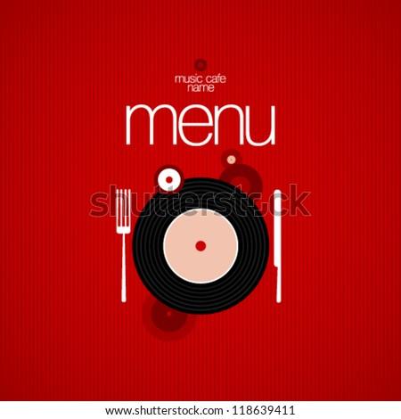 Music Cafe Menu Card Design template. - stock vector