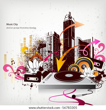 music city - stock vector