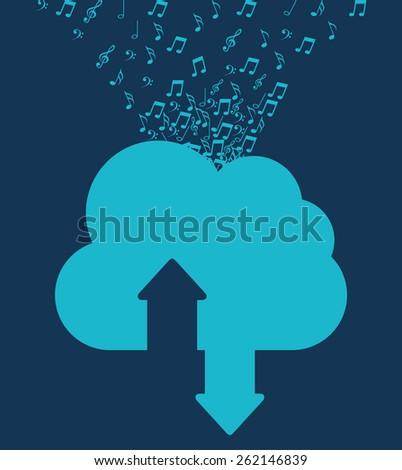 music cloud design, vector illustration eps10 graphic  - stock vector