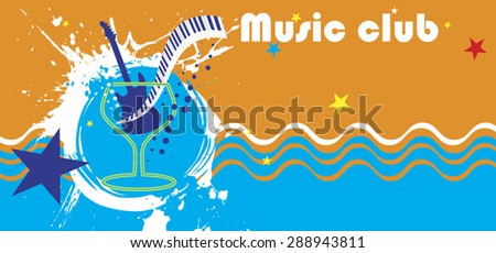 Music club banner.Abstract see motive.Piano bar
