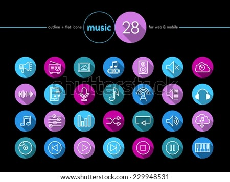 Music colorful flat icons set for web and mobile app. EPS10 vector file organized in layers for easy editing. - stock vector