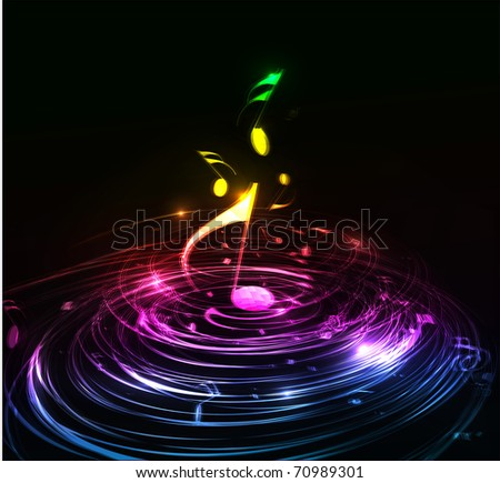 Music colorful music note theme - rainbow swirl  wave line background. - stock vector