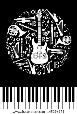 Music concept circle shape with instrument silhouettes  in black background. Vector illustration layered for easy manipulation and custom coloring. - stock vector
